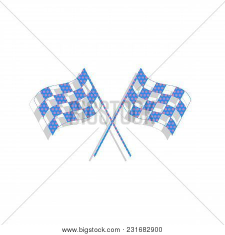 Crossed Checkered Flags Logo Waving In The Wind Conceptual Of Motor Sport. Vector. Neon Blue Icon Wi