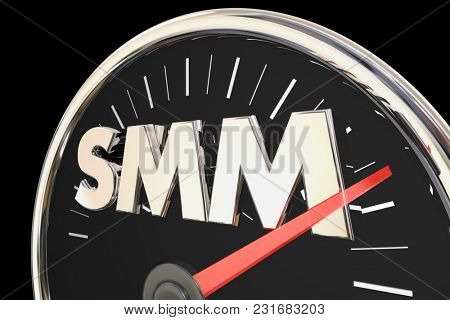 SMM Social Media Marketing Speedometer Level 3d Illustration
