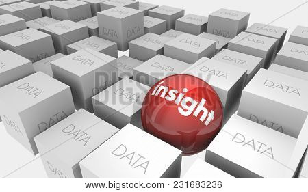 Insight Vs Data Intelligence Analysis Ball Cubes 3d Illustration