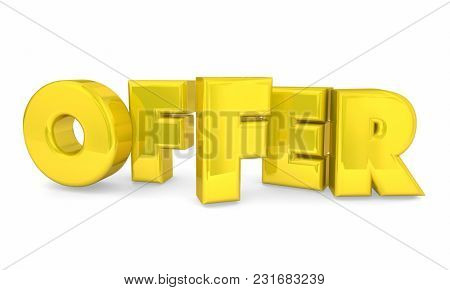 Offer Word Letters Special Opportunity Deal 3d Illustration