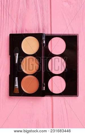 Set Of Brown Eyeshadows, Top View. Decorative Cosmetics For Natural Make Up. Femininity And Elegance