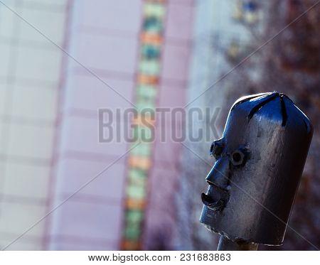 Silver Metal Robot Head Day Light Street