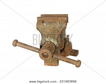 Old Rusty Metalwork Vise Made In The Ussr, Isolated On White Background.
