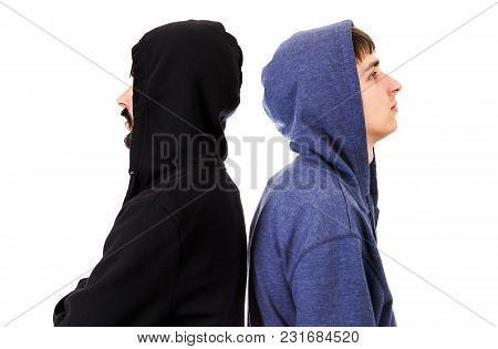 Guys Side View In A Hoodie On The White Background