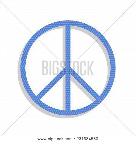 Peace Sign Illustration. Vector. Neon Blue Icon With Cyclamen Polka Dots Pattern With Light Gray Sha