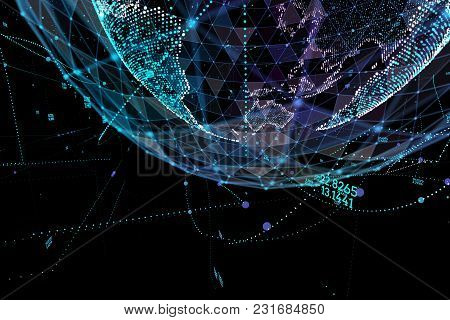 Point, Line, Surface Composed Of Circular Graphics, Global Network Connection, International Meaning