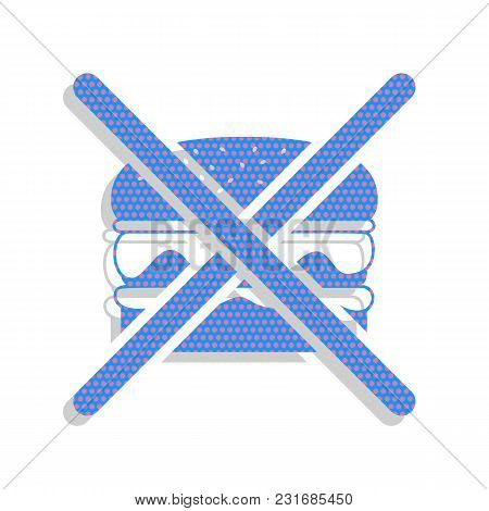 No Burger Sign. Vector. Neon Blue Icon With Cyclamen Polka Dots Pattern With Light Gray Shadow On Wh