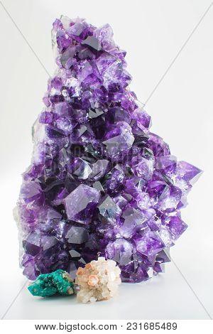Beautiful Big Purple Bright Gemstone Amethyst Crystal Isolated Close Up