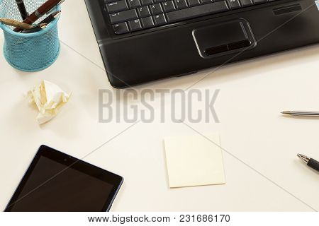 Business Concept With A Laptop And Blank Messages