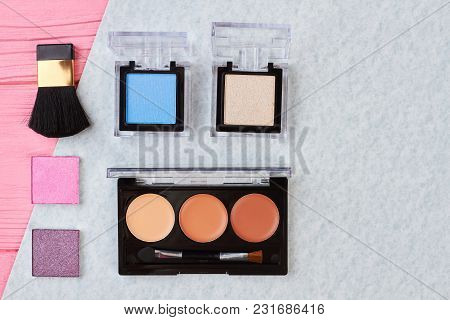 Eyeshadows Palette And Brush, Top View. Color Lipstick Palette And Eyeshadows, Space For Text. Femal