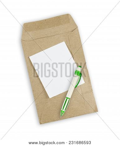 Pen And Envelope Document With Paper Isolated On White Background.