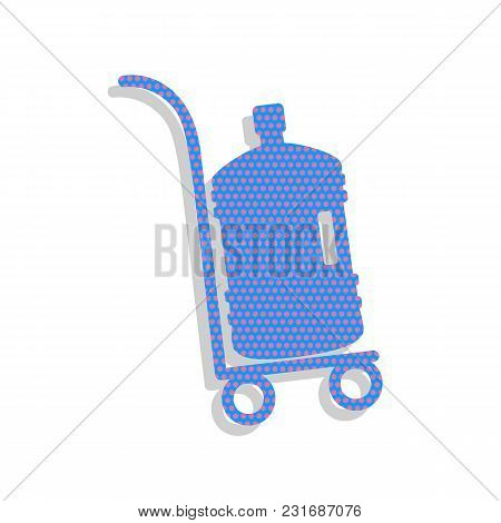 Plastic Bottle Silhouette With Water. Big Bottle Of Water On Track. Vector. Neon Blue Icon With Cycl