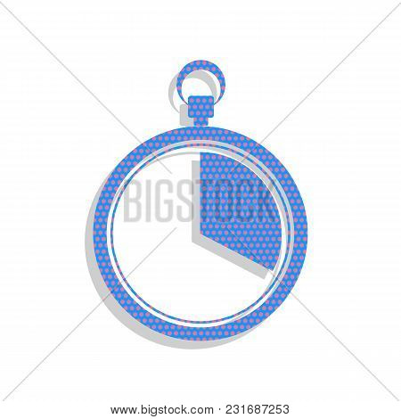 The 20 Seconds, Minutes Stopwatch Sign. Vector. Neon Blue Icon With Cyclamen Polka Dots Pattern With