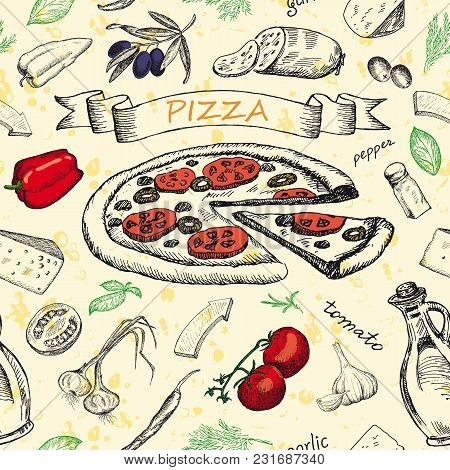 Seamless Pattern With Pizza And Set Of Ingredients. Sketched Hand Drawn Elements For Design Menus, R