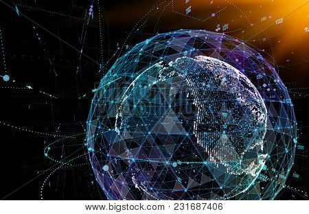 Connections Global Communication In The World Map View On Dark Space Background. 3d Illustration.