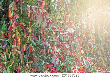 The Texture Of A Large Number Of Multi-colored Cloth Patches, Multi-colored Cloth Patches Hanging On