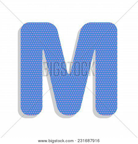Letter M Sign Design Template Element. Vector. Neon Blue Icon With Cyclamen Polka Dots Pattern With