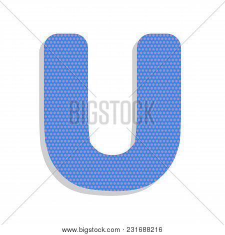 Letter U Sign Design Template Element. Vector. Neon Blue Icon With Cyclamen Polka Dots Pattern With