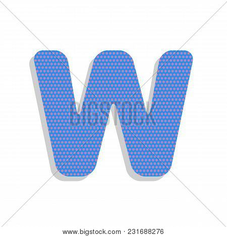 Letter W Sign Design Template Element. Vector. Neon Blue Icon With Cyclamen Polka Dots Pattern With