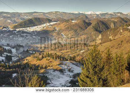 Sunny Morning Over Small Villages In Rucar-bran, Brasov County, Romania.