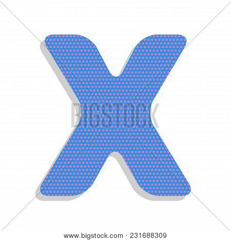 Letter X Sign Design Template Element. Vector. Neon Blue Icon With Cyclamen Polka Dots Pattern With