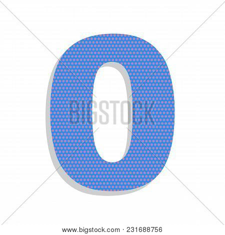 Number 0 Sign Design Template Element. Vector. Neon Blue Icon With Cyclamen Polka Dots Pattern With