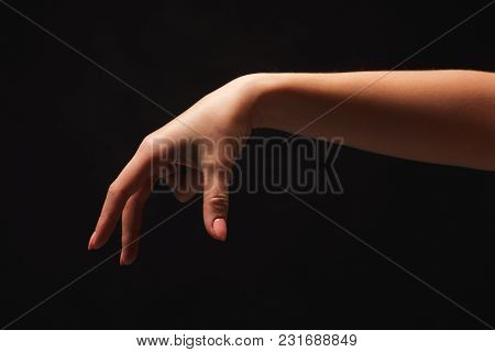 Taking. Female Hand Grab Some Item On Black Isolated Background, Cutout, Copy Space