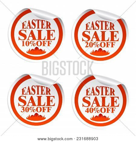 Easter Sale Stickers 10,20,30,40 With Eggs In The Grass