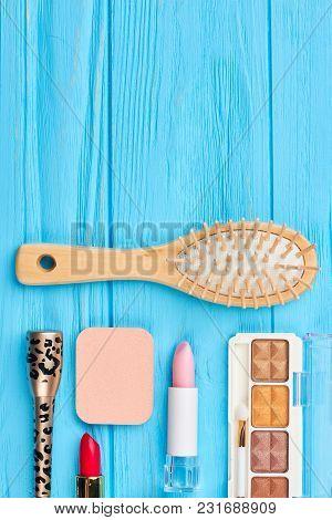Cosmetics Set And Copy Space. Lipstick, Eyeshadows, Eyeliner And Hair Bush. Women Beauty Essentials.