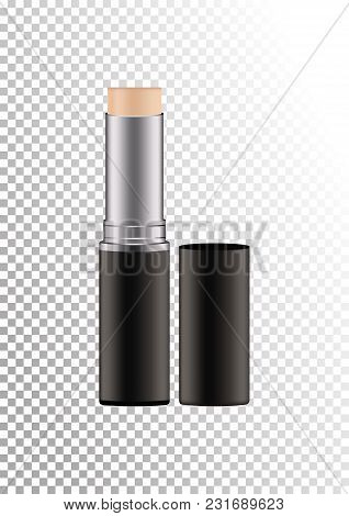 Mock Up Of Realistic Concealer Or Other Makeup Product In A Twisting Tube. Package Of Face Skin Corr