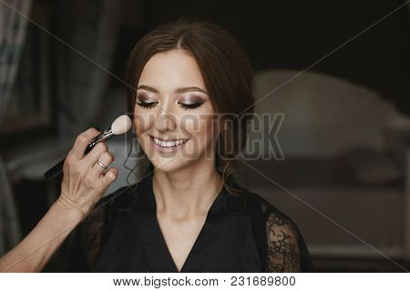 Portrait Of A Beautiful Brunette Model Girl, With Closed Eyes, Which Is Applied Professional Make-up