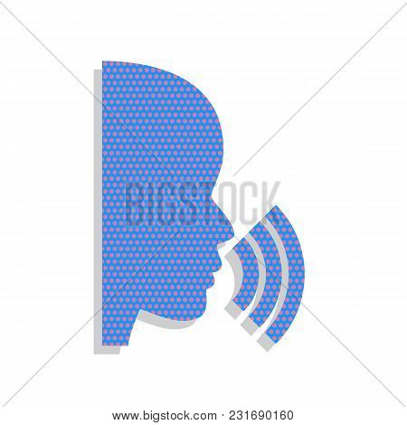 People Speaking Or Singing Sign. Vector. Neon Blue Icon With Cyclamen Polka Dots Pattern With Light