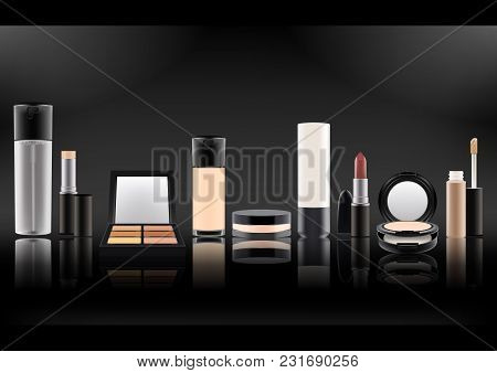 Set Of Realistic Cosmetic Bottles.plastic, Matte Transparent, Glass With Black Lid.mineral Powder, L