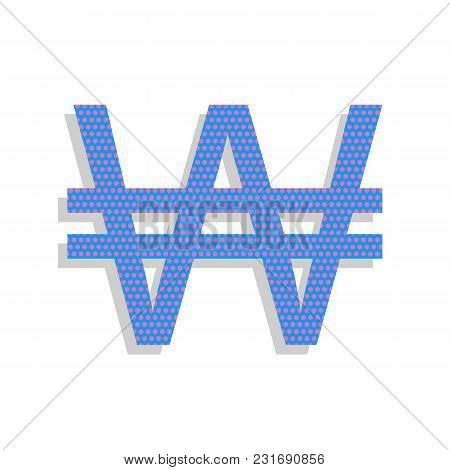 Won Sign. Vector. Neon Blue Icon With Cyclamen Polka Dots Pattern With Light Gray Shadow On White Ba