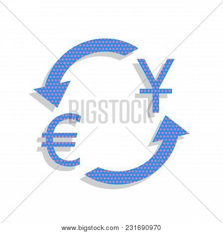 Currency Exchange Sign. Dollar And Euro. Vector. Neon Blue Icon With Cyclamen Polka Dots Pattern Wit