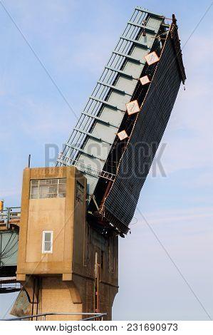 Drawbridge Up. A Drawbridge Is Upright For Boats To Pass Below.