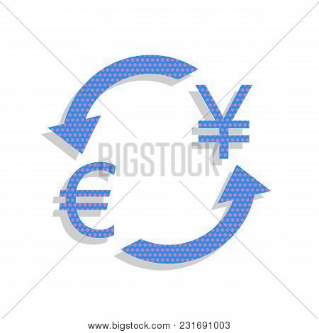 Currency Exchange Sign. Euro And Japan Yen. Vector. Neon Blue Icon With Cyclamen Polka Dots Pattern