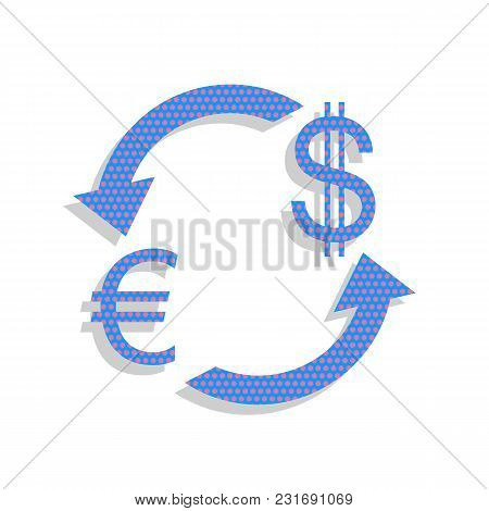 Currency Exchange Sign. Euro And Dollar. Vector. Neon Blue Icon With Cyclamen Polka Dots Pattern Wit