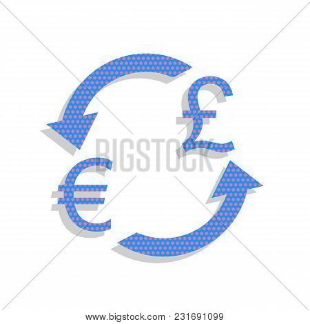 Currency Exchange Sign. Euro And Uk Pound. Vector. Neon Blue Icon With Cyclamen Polka Dots Pattern W