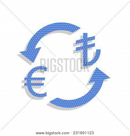 Currency Exchange Sign. Euro And Turkey Lira. Vector. Neon Blue Icon With Cyclamen Polka Dots Patter