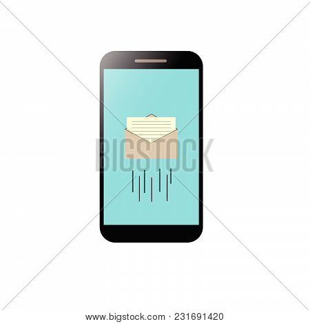 Smartphone With Message Concept. Smartphone With Email Symbol On The Screen. Vector Illustration.
