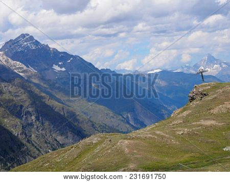 Alpine Mountains Range Landscapes At Swiss Alps At Switzerland, Picturesque Rocky Scenery, Seen From