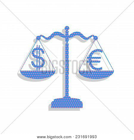 Justice Scales With Currency Exchange Sign. Vector. Neon Blue Icon With Cyclamen Polka Dots Pattern