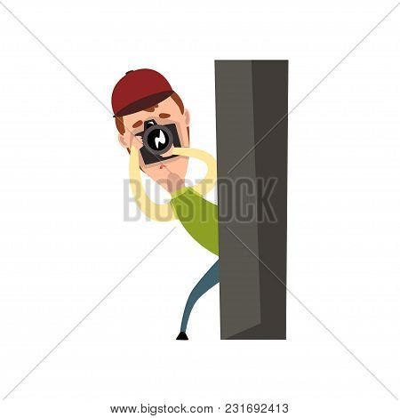 Professional male photographer paparazzi with camera taking pictures, spy hiding behind a post vector Illustration isolated on a white background. poster