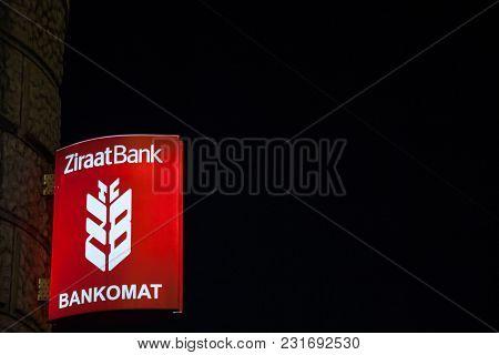 Sarajevo, Bosnia - February 16, 2018: Turkish Ziraat Bank Logo On Their Main Bank In Sarajevo, Taken