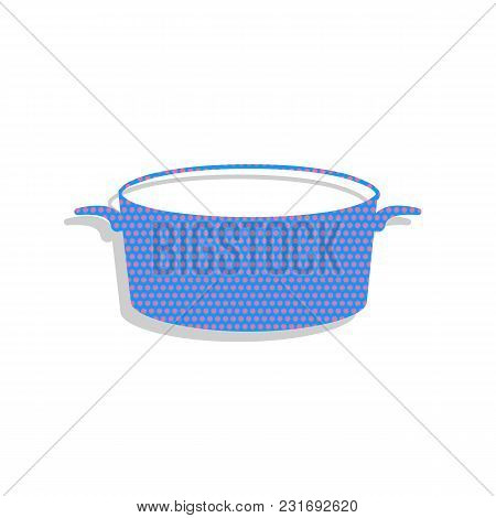 Pan Sign. Vector. Neon Blue Icon With Cyclamen Polka Dots Pattern With Light Gray Shadow On White Ba