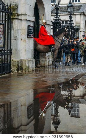London, Uk - March 7th, 2018: Horse Guard Outside The Household Cavalry Division In Whitehall Surrou