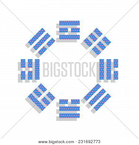 Bagua Sign. Vector. Neon Blue Icon With Cyclamen Polka Dots Pattern With Light Gray Shadow On White