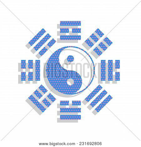 Yin And Yang Sign With Bagua Arrangement. Vector. Neon Blue Icon With Cyclamen Polka Dots Pattern Wi
