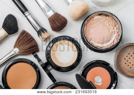 Set Of Decorative Cosmetic. Make-up Brushes Different Size And Color. Face Powders, Blush, Foundatio